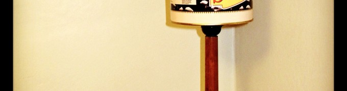 Olive tin shade lamp